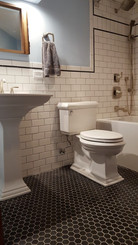 "Wall - 3 x 6 Designer White Ceramic, Boarder - 2 x 5 3/4 Sherborne Grey Silk Glass, Floor - 1 1/2"" M"