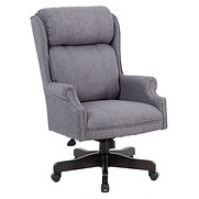 Boss Traditional High-Back Chair, Gray Linen w/ Black Base