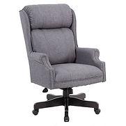Boss Traditional High-Back Chair, Gray Linen w/ Black Base