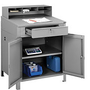 Cabinet Shop Desk with Pigeonhole Compartment Riser 34-1/2″W x 30″D x 51-1/2″H – Gray