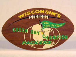 Early 1960's Green Bay Packers Wooden Football Shaped Souvenir Plaque