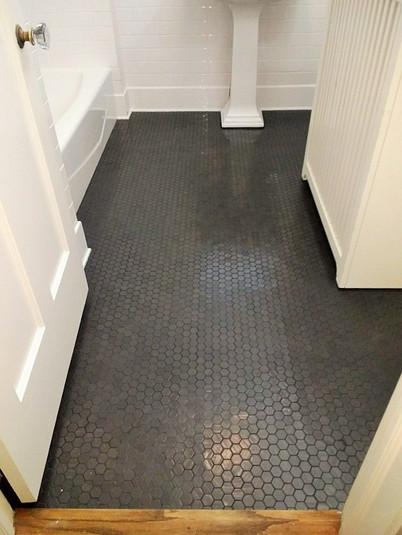 1 inch Semi Matte Black Hexagon Mosaic