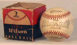 This is a 1940's Bob Feller Player Model Baseball made by Wilson, MINT in the Original Box. Amazingly, this vintage baseball has remained unscathed for all these years. The baseball features Feller's name both on the sweet-spot and as a facsimile signature on the side panel. Player model baseballs are becoming a more popular area of vintage baseball collecting but are still undervalued considering how scarce they are especially in strong condition. This example is solid MINT! Bob Feller was a member of the Cleveland Indians for his entire major league career spanning from 1936 to 1956. He was elected to the Baseball Hall of Fame in 1962.