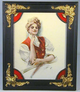 1906 Tennis Lady Lithograph Print in the Original Frame