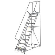 Perforated 24″W 10 Step Steel Rolling Ladder 14″D Top Step