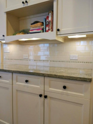 3x6 Chamomile Ceramic Tile with 1 x 1 Morning Mosaic Inserts