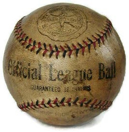 Here is a very scarce 1910's Baseball with 2-colored stitching. Made by the John A. Spinney Sporting Goods Company. It was their Official League Baseball which featured a horsehide cover and guarantee of 18 innings. This is the first baseball we have seen from this maker. The logo is very nice with a full body image of a period batsman in vintage baseball garb.
