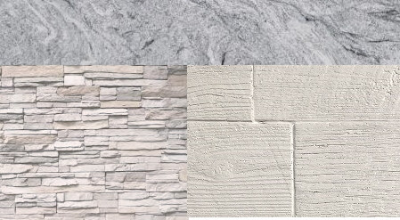 White Stacked Stone or Weathered Wood with Cloudy White countertop