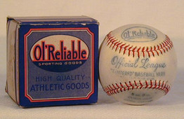 Here we have an unusual 1930's Ol'Reliable brand Official League Baseball in the Original Box. This attractive baseball and box combination is one that we have not seen in the past. The vintage baseball is an Official League model with nice markings and it appears to have never been used. The box is multicolored and remains in excellent condition.