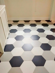 9x9 Heritage Porcelain Hexagon in Ash, White and Black