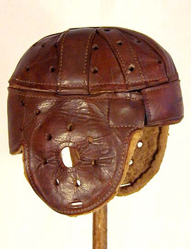"Early 1920's Rawlings Brown Leather ""Red Grange"" Style Football Helmet"