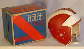 1930-40's Hutch Red and White Leather Football Helmet MINT in the Original Box