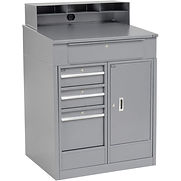 Cabinet Shop Desk with 4 Drawers & Pigeonhole Compartment Riser 34-1/2″W x 30″D x 51-1/2″H – Gray