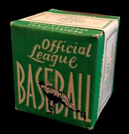 Here is a 1940's Official League, Model No. 90 Baseball, MINT in sealed Box. The antique baseball comes housed in a beautifully decorated box featuring detailed baseball graphics throughout. The box remains sealed and presents in wonderful NR-MT to MINT condition.