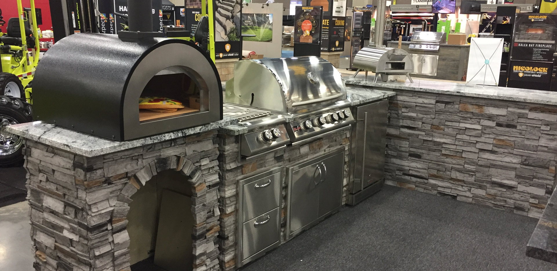 "Stacked Stone Gray with Cloudy White countertop; WPPO 25"" Deluxe Backyard Pizza Oven"