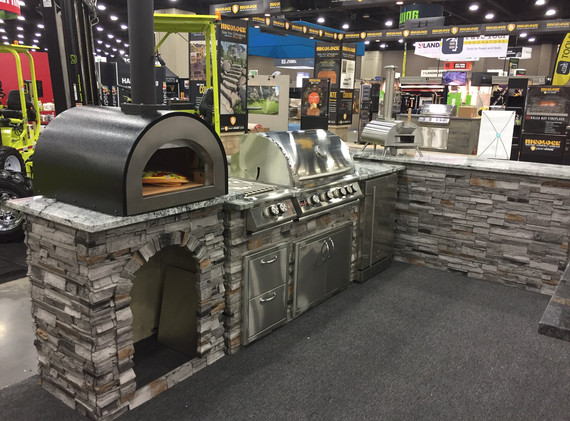 """Stacked Stone Gray with Cloudy White countertop; WPPO 25"""" Deluxe Backyard Pizza Oven"""