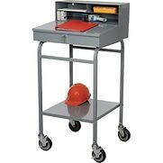 Winholt Mobile Open-Base Shop Desk RDMWN-3 with Pigeonhole Riser 24″W x 22″D x 48″H – Sloped – Gray