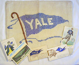 Early 1900's Yale University Pillow Cover and 5 Postcards (one F. Earl Christy)