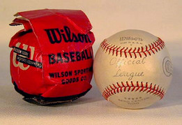 Early 1940's Wilson Official League Baseball in Original Packaging. This fantastic, vintage baseball was made by the Wilson Sporting Goods Company. This form of packaging was used during World War II to conserve cardboard, thus making this a scarce item. The baseball has never been used!