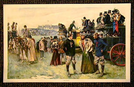 "1897 Football Print with Penn and Princeton, entitled ""The Rivals"""