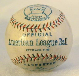 1909 Reach Official American League Baseball. Official American and National League baseballs are among the most sought after by the vintage baseball collector.