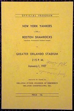 1937 New York Yankees – Boston Shamrocks Football Program signed by 11 players
