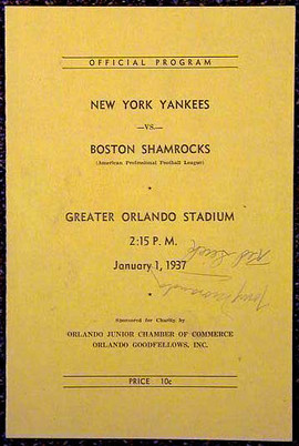 1937 New York Yankees – Boston Shamrocks Football Program signed by 11 players