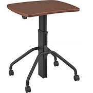 RightAngle Arriba Gas Lift Desk with Casters 27″ x 30″, Mahogany w/Black Base
