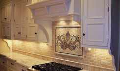 Surround - 2x4 Polished Jerusalem Gold Pillowed Marble, Frameout - Custom Handmade Floral Mosaic