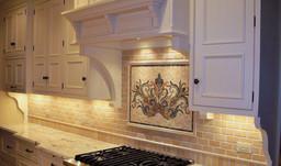 Surround - 2x4 Polished Jerusalem Gold Pillowed Marble, Frameout - Custom Handmade Floral Mosaic