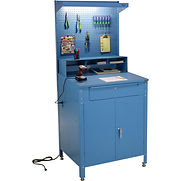 Cabinet Shop Desk with Pigeonhole Riser, Pegboard & Top Shelf 34-1/2″W x 30″D x 80″H – Blue