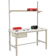 "60""W x 30""D Production Workbench - ESD Laminate Safety Edge with Drawer, Upright & Shelf - Tan"