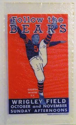 1940's Georege McFee Chicago Bears Advertising Decal