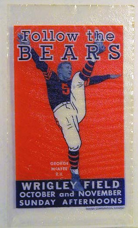 1940's Georege McFee Chicago Bears Advertising Decal