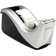 Scotch Desktop Tape Dispenser C60-ST Silver Two-Tone, 1 Pack