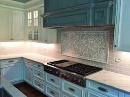 Surround - 3 x 6 Fog Field Tile, Frameout - 1/2 x 1 Herringbone Bari Silk Glass Mosaic with 2x6 Fog