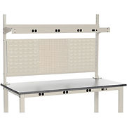Completed Panel Kit for 60″W Bench with Two 18″W Louver, 18″W Pegboard, Mounting Rail, Upright – Tan