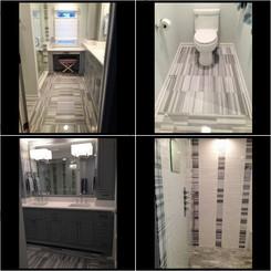 Walls - 3x6 Ice White Ceramic Tile, Floor/Walls - 12x12 Zebra Marble, Floor - 3x6 Arabescato Marble