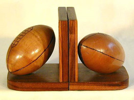 Vintage 1910's Wooden Football Bookends