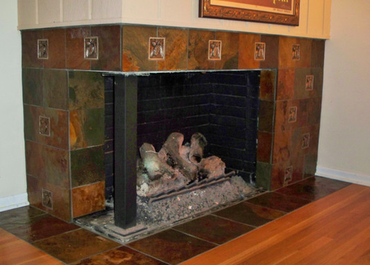 3x3 Pine Bronze Deco, 6x6 Multi Color Slate Brushed and 12x12 Multi Color Slate Brushed