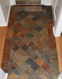 2x2 Leaf Antique Bronze Deco, 12x12 Multi Color Slate Brushed