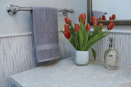Wall - Honed Gentle Blend Heavy Rain Mosaic with Honed Bursa Beige Narrow Liner