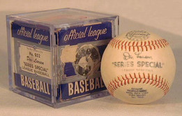 This is a 1950's Don Larsen Player Model Baseball, MINT in the original PICTURE BOX. This vintage baseball is an excellent example of a player model baseball and it comes complete with the original picture box! Just like the picture boxes are highly coveted among the antique baseball glove collectors, they are becoming the same in the baseball collecting community. Of course they are very scarce for the obvious reasons but fortunately this one remains, and is a fine example. The image on the box features Don Larsen sporting his New York Yankees cap and jersey. The box grades EX and the baseball is solid MINT. Together they make a superb display. Don Larsen played in five different World Series Championships and is most noted for pitching a perfect game in game 5 of the 1956 World Series. He remains the only player in history to do so!