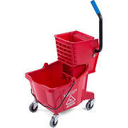 Carlisle Commercial Mop Bucket with Side-Press Wringer 26 Quart, Red – 3690805