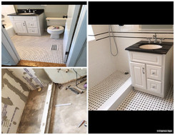 Walls - 3x6 Ice White Ceramic Tile with Black Gloss Liner Floor - Matte White with Black Polished Do