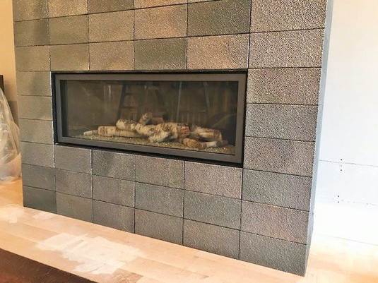 Tile provided by client, installation by Mona Lisa Stone & Tile, Inc.