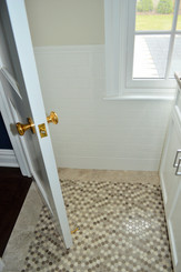 """Floor - 12x12 Honed """"Dots"""" Silver Stone Marble Mosaic, Walls - 3x6 & 6x6 Ice White Ceramic Tile"""