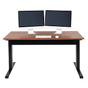 Luxor Adjustable Height Desk – Pneumatic – 56″W x 29.5″D – Teak