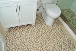 "Floor - 12x12 Honed ""Dots"" Silver Stone Marble Mosaic, Walls - 3x6 & 6x6 Ice White Ceramic Tile"