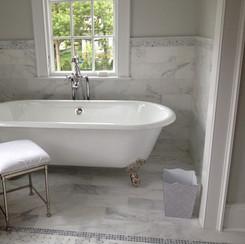 Walls/Floor - 6x12 Honed Carrara Bella Marble, Rug/Floor - Polished Carrara Bella with Pearl Grey Do
